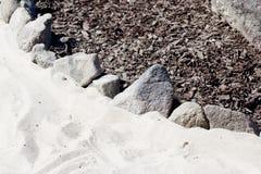 Beschaffenheit der Steine, Sand und trocknen die Barke Stockbild