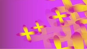 Beschaffenheit der transparenten gelben abstrakten volumetrischen modernen Magie der verschiedenen Formen von kosmischen vier-Blä stock abbildung