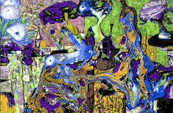 Beschaffenheit des Ölgemäldes Roman Nogin Autor Reihe ` Frauen ` s Gespräch ` die Autor ` s Version der Farbe Lizenzfreie Stockbilder