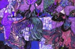 Beschaffenheit des Ölgemäldes Roman Nogin Autor Reihe ` Frauen ` s Gespräch ` die Autor ` s Version der Farbe Stockfotos