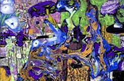 Beschaffenheit des Ölgemäldes Roman Nogin Autor Reihe ` Frauen ` s Gespräch ` die Autor ` s Version der Farbe Lizenzfreie Stockfotografie