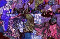 Beschaffenheit des Ölgemäldes Roman Nogin Autor Reihe ` Frauen ` s Gespräch ` die Autor ` s Version der Farbe Stockbild