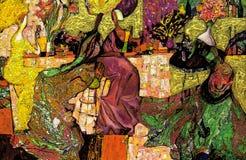 Beschaffenheit des Ölgemäldes Roman Nogin Autor Reihe ` Frauen ` s Gespräch ` die Autor ` s Version der Farbe Stockfotografie