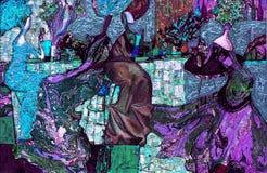 Beschaffenheit des Ölgemäldes Roman Nogin Autor Reihe ` Frauen ` s Gespräch ` die Autor ` s Version der Farbe Lizenzfreie Stockfotos
