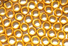 Beschaffenheit des Brotimbisses in Form von Kreisen mit Salz auf weißer Platte mit Schatten lizenzfreies stockfoto