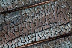 Beschaffenheit des gebrannten Holzes Stockbild