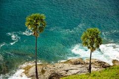 Beschaffenheit des Meeres, Palmen Lizenzfreies Stockbild