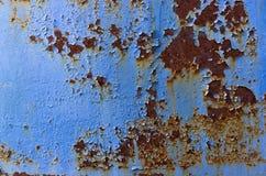 Beschaffenheit des Metalls und der blauen Farbe Stockfotografie