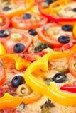 Beschaffenheit einer Gemüsepizza Lizenzfreies Stockbild