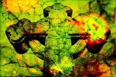 Beschaffenheit eines Kreuzes auf einem Blatt Stockfoto