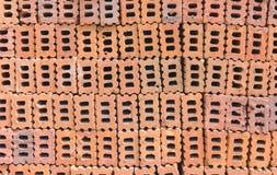 Beschaffenheit eines Stapels der Ziegelsteine Stockfotografie