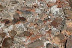 Beschaffenheit für einen Hintergrund von zerstoßenen Ziegelsteinen Das Haus im Bau als Hintergrund Steine tamped Stockbilder
