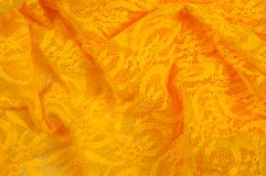 Beschaffenheit, Gewebe, Hintergrund Lacy Yellow-Gewebe, Spitze Ein dünnes OP lizenzfreie abbildung