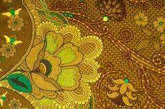 Beschaffenheit, Gewebe mit einem Farbmuster, braune grüne Blumen flor Lizenzfreie Stockfotografie