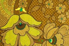 Beschaffenheit, Gewebe mit einem Farbmuster, braune grüne Blumen flor Stockbilder