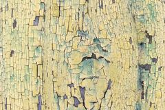 Beschaffenheit, Hintergrund, alte hölzerne Beschichtung mit gebrochener Farbe stockfotografie