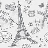 Beschaffenheit mit dem Bild des Eiffelturms und der Mühle Stockfotos