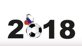 Beschaffenheit mit einem Fußball und einem Schmetterling mit Flagge von Russland und von Aufschrift 2018 Stockfotografie