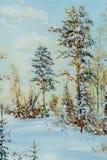 Beschaffenheit, Muster, Segeltuch gemalt in den Ölen Gezeichnet auf Bild winte Lizenzfreies Stockbild