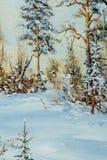 Beschaffenheit, Muster, Segeltuch gemalt in den Ölen Gezeichnet auf Bild winte Lizenzfreie Stockbilder