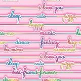 Beschaffenheit - nahtloses Muster - mehrfarbige helle Buchstaben auf einem rosa Hintergrund Stockbilder