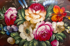 Beschaffenheit von Ölgemälden, Blumen, malendes Fragment von gemalt Stockbild