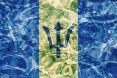 Beschaffenheit von Barbados-Flagge stockfotos