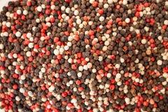 Beschaffenheit von Gewürzen mischen Nahaufnahme, Gewürz oder Gewürz als Hintergrund Schwarzer Pfeffer, roter Pfeffer lizenzfreies stockbild