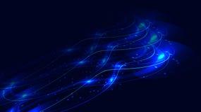 Beschaffenheit von roten abstrakten roten magischen glühenden hellen glänzenden Neonlinien von Wellen von Streifen von Threads vo lizenzfreie abbildung