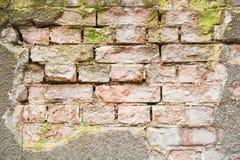 Beschaffenheit von surfrace des alten Backsteinmauerhintergrundes Lizenzfreie Stockfotos