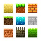 Beschaffenheiten für platformers Pixelkunst-Vektorsatz Lizenzfreie Stockbilder