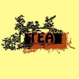 Beschaffenheiten, Illustrationen, Teeverpackung, Blätter, Blumenblätter Lizenzfreies Stockfoto