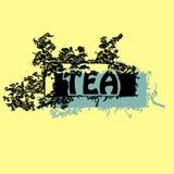 Beschaffenheiten, Illustrationen, Teeverpackung, Blätter, Blumenblätter, breakfas Lizenzfreies Stockfoto