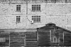 Beschaffenheiten und Muster der alten und neuen Wand der Gebäude Stockfotografie