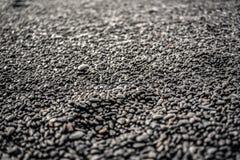 Beschaffenheiten von schwarzen kleinen Steinen auf einem schwarzen Steinstrand in Icelan Lizenzfreies Stockfoto
