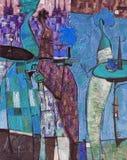 Beschaffenheitsölgemälde schreiben Sie Roman Nogin, Reihe ` Frauen ` s Gespräch `, Autor ` s Version der Farbe Stockfotos