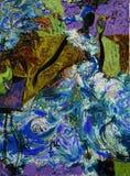 Beschaffenheitsölgemälde schreiben Sie Roman Nogin, Reihe ` Frauen ` s Gespräch `, Autor ` s Version der Farbe Lizenzfreies Stockfoto