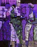 Beschaffenheitsölgemälde schreiben Sie Roman Nogin, Reihe ` Frauen ` s Gespräch `, Autor ` s Version der Farbe Lizenzfreie Stockfotos