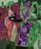 Beschaffenheitsölgemälde schreiben Sie Roman Nogin, Reihe ` Frauen ` s Gespräch `, Autor ` s Version der Farbe Stockbilder