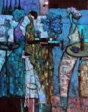 Beschaffenheitsölgemälde schreiben Sie Roman Nogin, Reihe ` Frauen ` s Gespräch `, Autor ` s Version der Farbe Lizenzfreie Stockfotografie