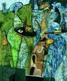 Beschaffenheitsölgemälde schreiben Sie Roman Nogin, Reihe ` Frauen ` s Gespräch `, Autor ` s Version der Farbe Lizenzfreies Stockbild