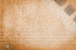 Beschaffenheits-Papierhintergrund der Musik rustikaler mit Tastatur stock abbildung