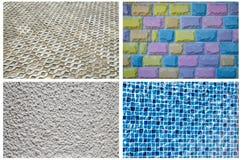 Beschaffenheits-Reihe - blaue Mosaik-Fliesen, Ziegelsteine, viele Farbziegelsteine, strukturierter Beton Stockfotografie