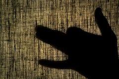 Beschatten Sie Hände und Finger in Form eines Hundes auf einem Leinensegeltuch Stockfotografie