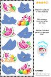 Beschatten Sie Spiel mit Äpfeln, Eiscreme und Wassermelonenscheiben Lizenzfreies Stockbild