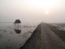 Bescheiden strohut van Indische vissers in de Ganges, Sunderband, India stock foto's