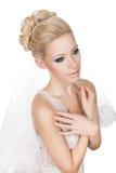 Bescheidene blonde Braut. Lizenzfreies Stockbild