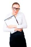 Bescheidene und intelligente Geschäftsfrau lizenzfreie stockfotos