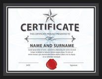 Bescheinigen Sie Schablone, Diplom, Buchstabegröße, Vektor lizenzfreie abbildung