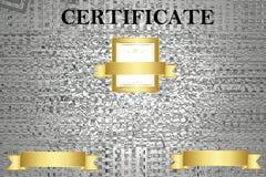 Bescheinigen Sie Schablone mit Luxus- und modernem Muster, Diplom Auch im corel abgehobenen Betrag lizenzfreie stockfotos
